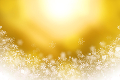 Gold background of sparkling snowflakes