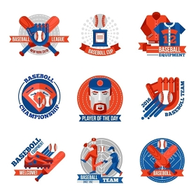 Baseball Emblems Set. Set of baseball emblems with game equipments team players league and championship advertising flat isolated vector illustration