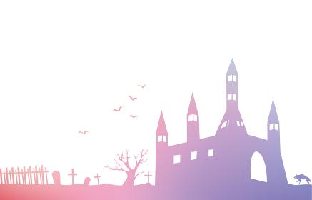 古城とコウモリと墓場の風景シルエットの背景