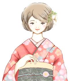 振袖を着た若い女性 成人式 正月