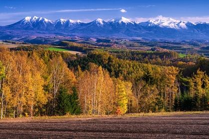 北海道・美瑛町 秋の美瑛の丘と冠雪した十勝岳連峰の風景
