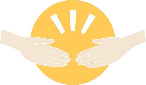 互いに協力し合う握手のイメージ(エア握手)