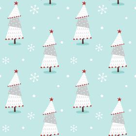 手描きのかわいいクリスマスツリーと雪のシームレスパターン