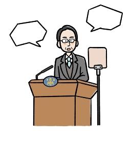 吹き出し付きのスピーチをする男性のイラスト