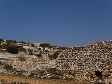 Old Fortified Roman Wall in Malta