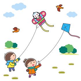 凧あげをする子どもたち・風景 / 線あり