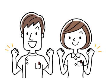 ベクターイラスト素材:やる気を出す若い看護師、男女