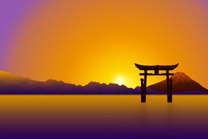 朝日と富士山 イラスト