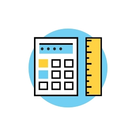 Icon of ruler with calculator logo. Isolated calculator and ruler on white background. Modern vector illustration for web and mobile app. Thin, line, stroke, outline calculator and ruler icon