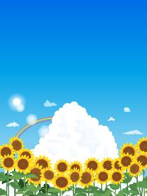 青空とヒマワリの風景イラスト