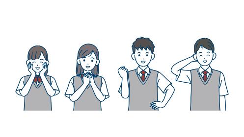 喜ぶ学生 嬉しい 笑顔 中高生 高校生 中学生 男女 友達 イラスト素材