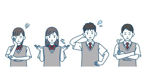 困る学生 トラブル 問題 中高生 高校生 中学生 男女 友達 イラスト素材