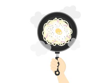カルボナーラパスタの調理のイラスト