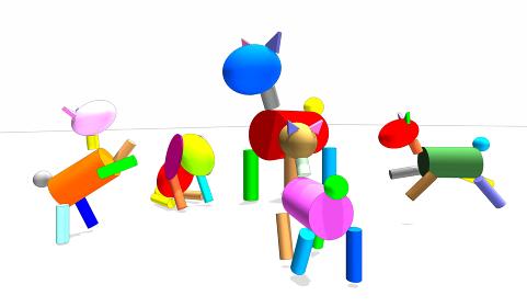 親子の積み木の犬の3dレンダリング