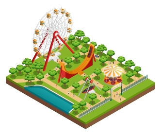 Amusement Park Isometric Composition . Amusement park isometric composition with carousel and ferris wheel symbols vector illustration