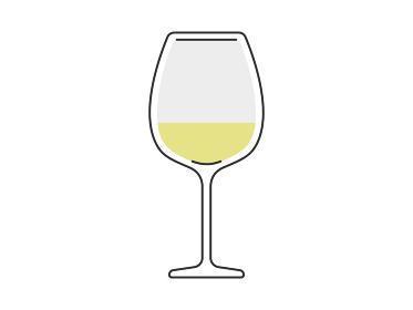 ワイングラスに入った白ワインのイラスト