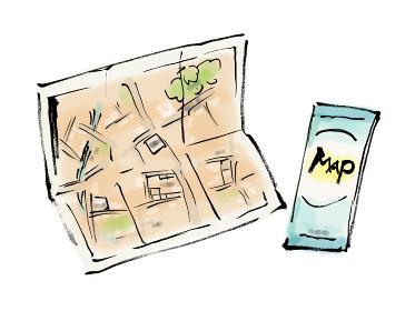 和風手描きイラスト素材 旅行 地図、マップ、旅行、広げる、道、トラベル、探す、観光、目的地、旅、観光