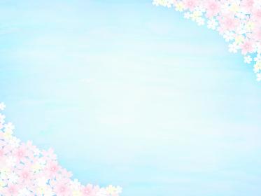 晴れわたる春の青空とピンクの桜背景