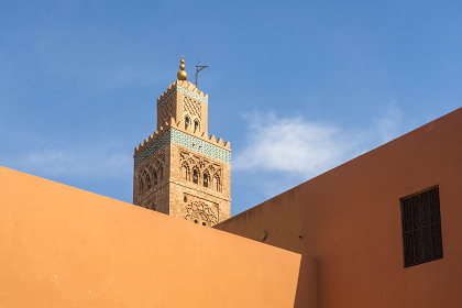 Koutoubia mosque minaret and exterior n Marrakech
