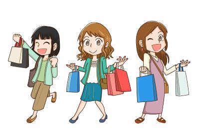 買い物を楽しむ女性3人