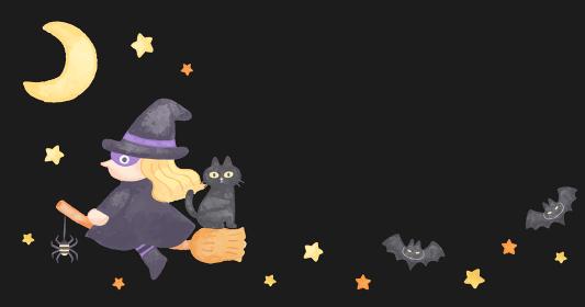 色鉛筆手描き風 ハロウィン 空飛ぶほうきに乗った魔女イラスト