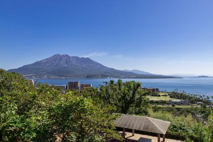 多賀山公園から見た桜島の風景 鹿児島県鹿児島市