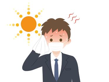 熱中症 猛暑の中マスクをつける男性