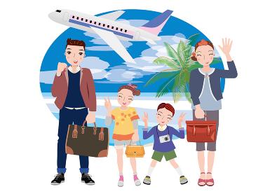 飛行機に乗って旅行に出かける夫婦と姉弟