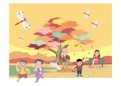 秋、焼き芋、ジョギング、読書をする人々