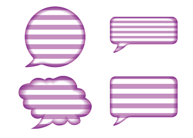 レリーフ状の漫画の吹き出し(紫)|ボーダーバルーン ベクターデータ Speech balloon