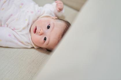 カメラ目線のアジア人の女の子の赤ちゃん