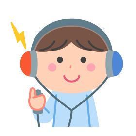 健康診断/聴力検査をする男の子/輪郭線なし