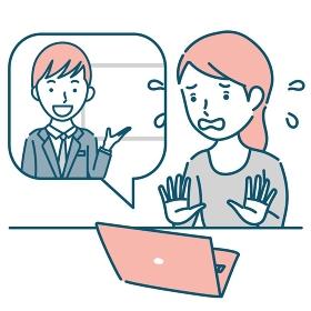 男性講師からオンラインで説明を受けて焦る女性のイラスト素材