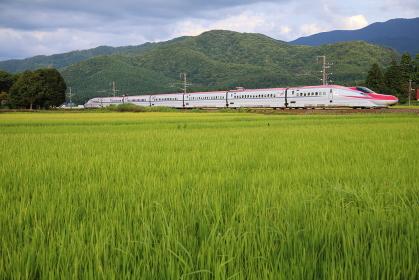 田園地帯を走る秋田新幹線こまち