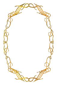 グラフィック素材:ゴールドメタリック アールヌーヴォー 飾り罫 フレーム 飾り囲み バックグラウンド