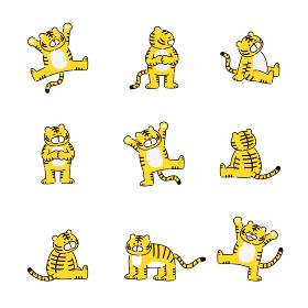 色々なポーズの虎のイラストセット