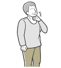 のどの痛みを感じる長袖を着た中年男性