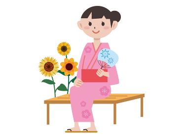 日本の夏祭り 浴衣 女性