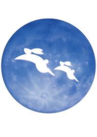 十五夜の満月とうさぎ