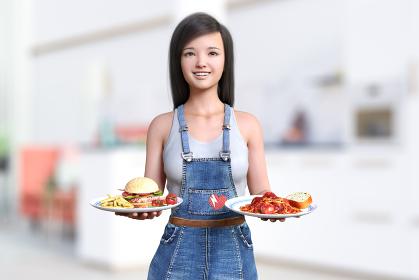 ファーストフードやパスタを乗せた大皿を持つサロペット姿の黒髪の笑顔の女の子