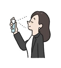 ミスト化粧水でリフレッシュする女性のイラスト