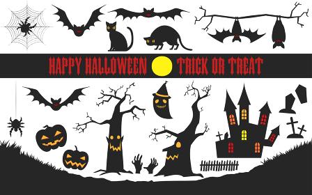 ハロウィンのシルエット素材セット:古城とコウモリ、枯れ木とカボチャ、猫