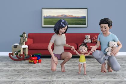 家族3人で部屋の中で赤ちゃんが歩く練習を楽しく遊びながらしている