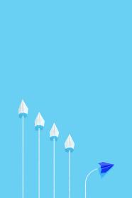 1機だけルートを変える紙飛行機 4 縦位置