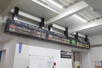 米子駅仮駅舎の出発案内