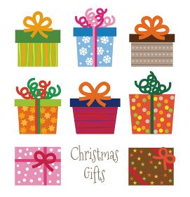 カラフルでいいろなクリスマスギフトラッピング クリスマスプレゼント