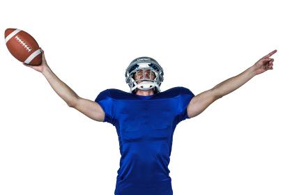 Sportsman gesturing victory