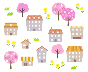 春 桜の木と街並み