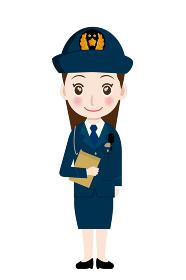 働く人直立書類を持つ制服を着た警官・警察官・お巡りさんのイラスト若者青年笑顔