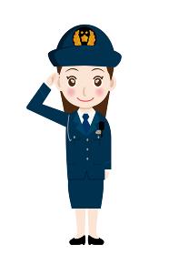 働く人ジャンプ ガッツポーズをする婦人警官・警察官・お巡りさんのイラスト若者青年飛躍成功